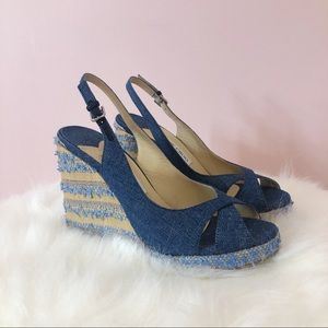 Jimmy Choo Amely 105 Denim Wedges